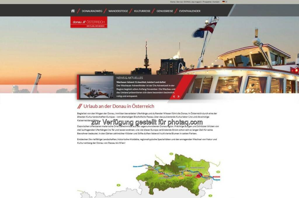 WGD Donau Oberösterreich Tourismus GmbH: Donau Österreich mit gemeinsamen Webauftritt www.donau-oesterreich.at, © Aussender (13.11.2014)