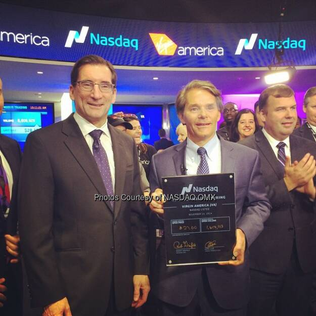#Nasdaq's CEO Bob Greifeld and @Virginamerica's CEO David Cush celebrate the $VA #IPO with the ceremonial first trade certificate!  Source: http://facebook.com/NASDAQ (15.11.2014)