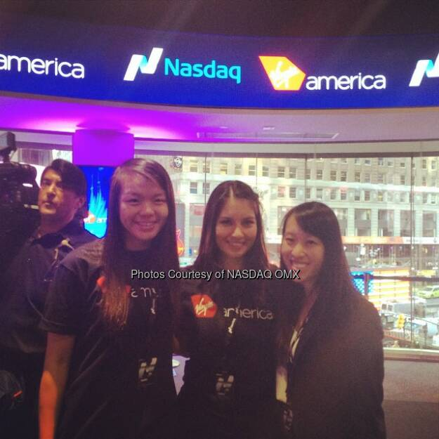 Celebrating the @virginamerica #IPO at @nasdaq this morning! $VA #virginamerica  Source: http://facebook.com/NASDAQ (15.11.2014)