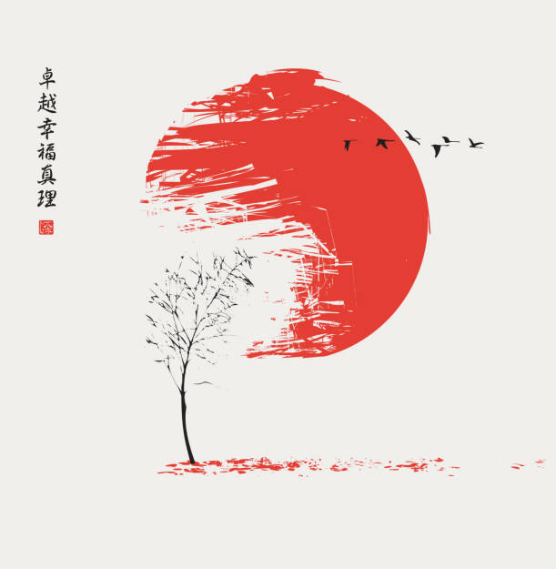 Japan, Perfection, Happiness, Truth - http://www.shutterstock.com/de/pic-176484302/stock-vector-autumn-landscape-with-tree-at-sunset-and-a-flock-of-birds-the-chinese-characters-perfection.html (Bild: shutterstock.com), © (www.shutterstock.com) (17.11.2014)