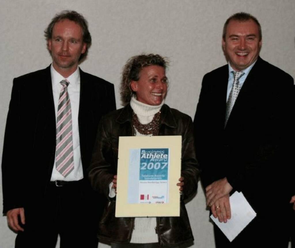 Christian Drastil, Nicola Werdenigg-Spiess, Martin Bredl beim Telekom Sonderpreis (17.11.2014)
