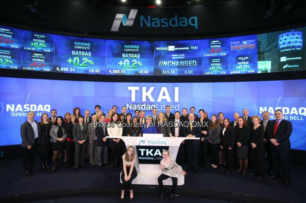Tokai Pharmaceuticals, Inc. rings the #Nasdaq Opening Bell $TKAI  Source: http://facebook.com/NASDAQ (17.11.2014)