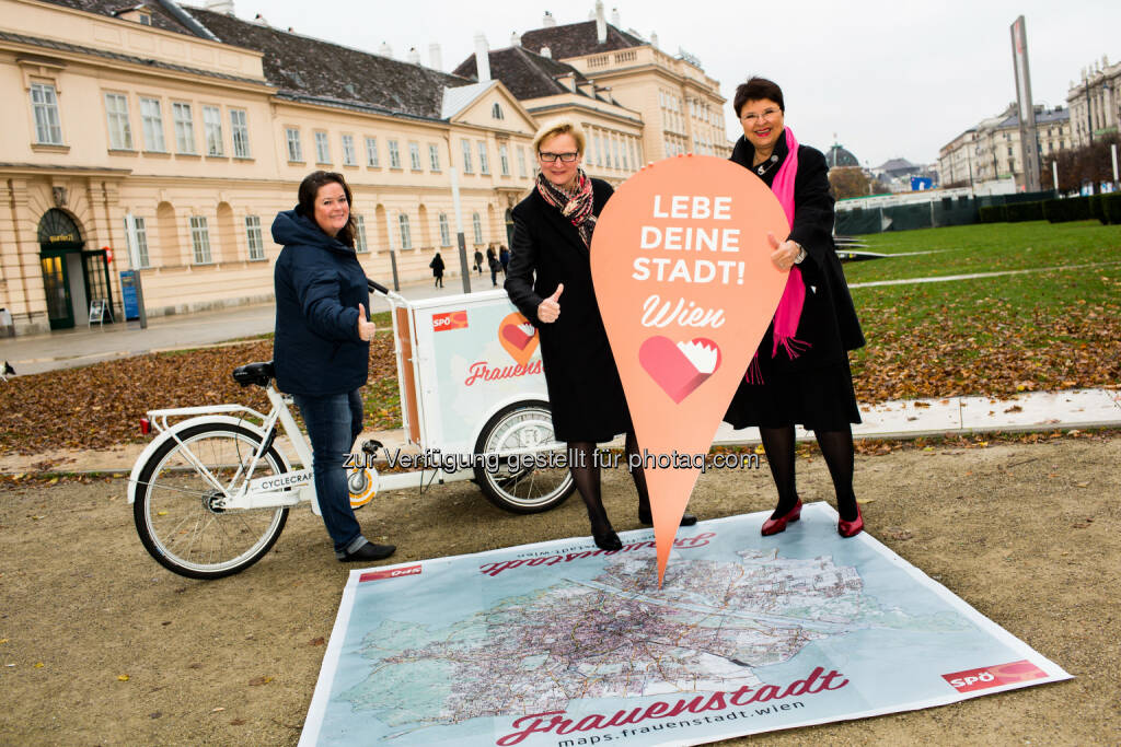 SPÖ Wien-Frauensekretärin Nicole Berger-Krotsch; Frauenstadträtin Sandra Frauenberger; SPÖ Wien-Frauenvorsitzende Vizebürgermeisterin Renate Brauner: SP-Wien Frauen starten größten Frauen-Stadtplan (17.11.2014)