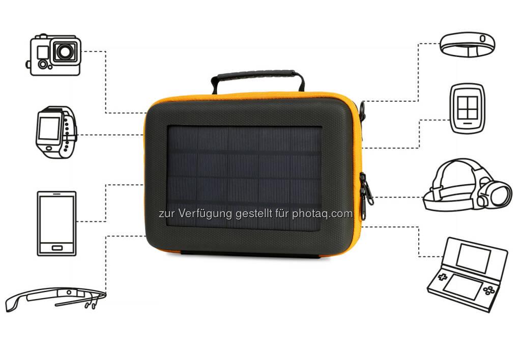SunnyBag, das junge Start-Up, das es jedermann ermöglicht, Sonnenstrahlen in elektrische Energie zu verwandeln, kündigt das erste Solar GoPro Case beim Crowdfunding-Portal Indiegogo an: SunnyBAG Action Case © SunnyBag, © Aussendung (24.11.2014)