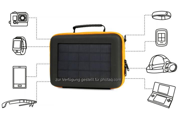 SunnyBag, das junge Start-Up, das es jedermann ermöglicht, Sonnenstrahlen in elektrische Energie zu verwandeln, kündigt das erste Solar GoPro Case beim Crowdfunding-Portal Indiegogo an: SunnyBAG Action Case © SunnyBag