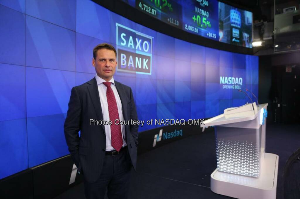 Saxo Bank rings the Nasdaq Opening Bell! $SAX  Source: http://facebook.com/NASDAQ (25.11.2014)