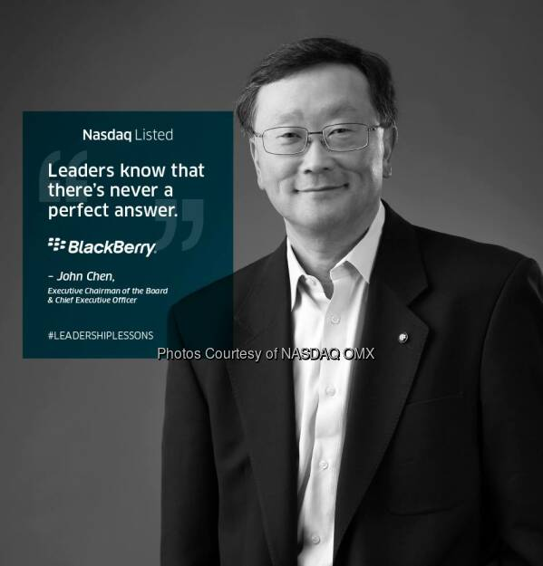 #LeadershipLessons from John Chen, Executive Chairman of the Board & Chief Executive Officer of BlackBerry #NasdaqListed $BBRY  Source: http://facebook.com/NASDAQ (26.11.2014)