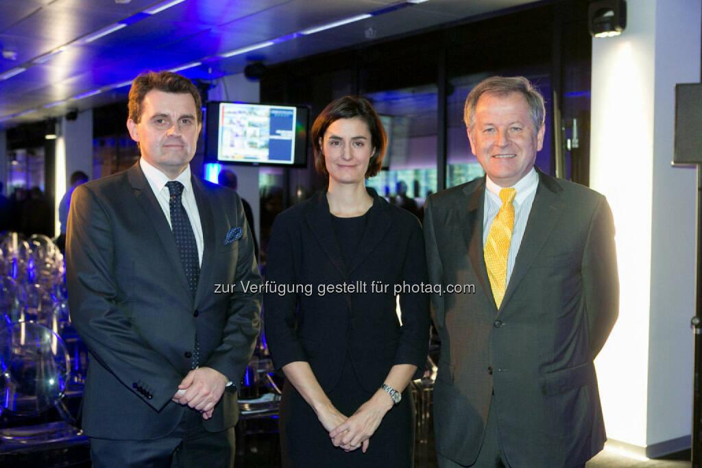 Dietmar Reindl (COO Immofinanz), Birgit Noggler (CFO Immofinanz), Eduard Zehetner (CEO Immofinanz),  http://privatanleger.immofinanz.com/, © Martina Draper für Immofinanz (27.11.2014)