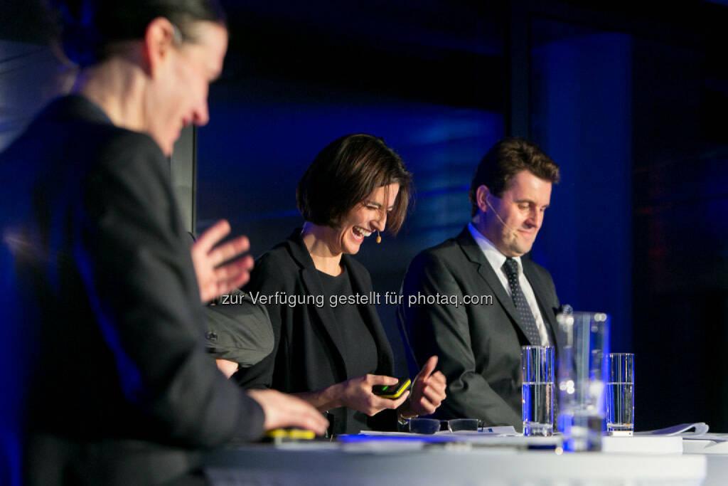 Bettina Schragl (Head of Corporate Communications Immofinanz), Birgit Noggler (CFO Immofinanz), Dietmar Reindl (COO Immofinanz), http://privatanleger.immofinanz.com/, © Martina Draper für Immofinanz (27.11.2014)