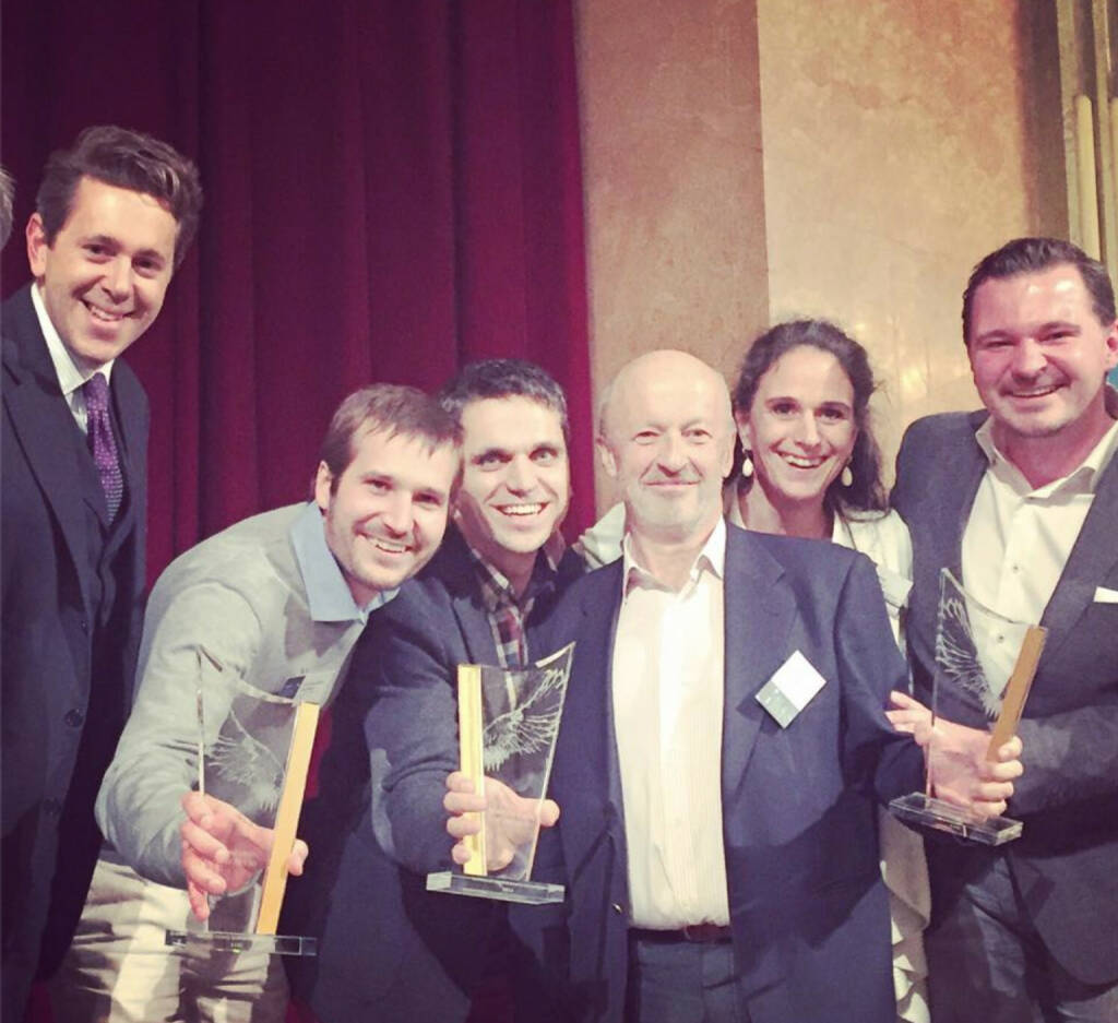 Verleihung Business Angel des Jahres 2014: Harald Mahrer, Chris Grabher, Michael Altrichter, Hansi Hansmann, Irene Fialka, Michael Steiner , © Aussendung (27.11.2014)