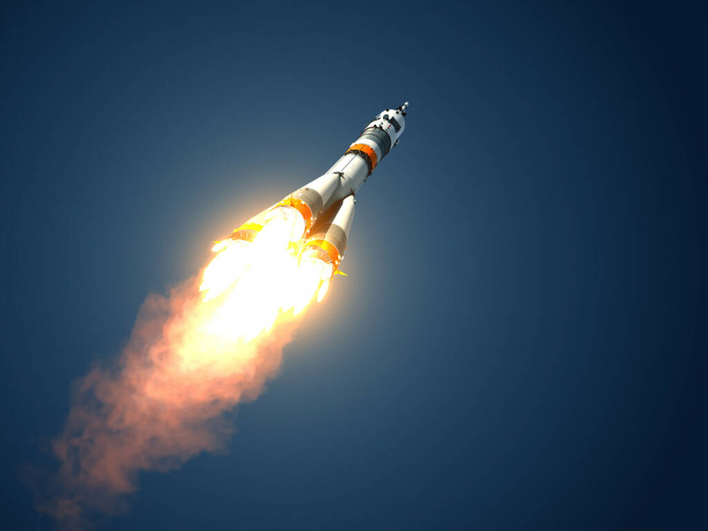 Rakete, Start, abheben, abfliegen, hinauf, Höhe, Sieger, Gewinner, fliegen, http://www.shutterstock.com/de/pic-191556596/stock-photo-carrier-rocket-takes-off-d-scene.html, © www.shutterstock.com (22.07.2018)