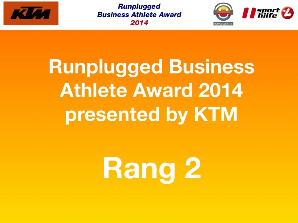 Runplugged Business Athlete Award 2014 presented by KTM Rang 2 (02.12.2014)