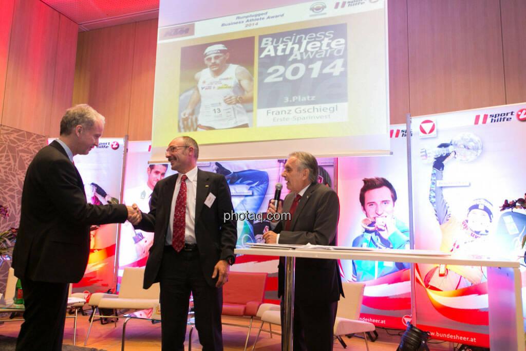 Christian Drastil, Franz Gschiegl (Erste Sparinvest), Hans Huber, © photaq/Martina Draper (02.12.2014)