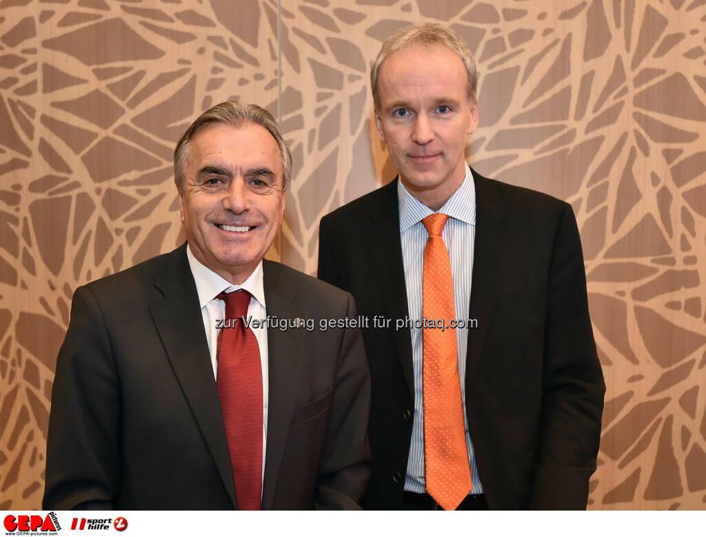 Hans Huber und Christian Drastil. (Photo: GEPA pictures/ Martin Hoermandinger) (02.12.2014)