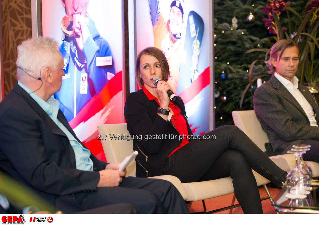 Sigi Heinrich, Nicole Trimmel and Christoph Schmoelzer. (Photo: GEPA pictures/ Martin Hoermandinger) (02.12.2014)