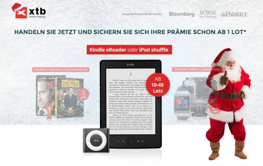 Unter http://winter.xtb.de hat XTB eine Zwei Fliegen mit einem Schlag - Weihnachtsaktion für Trader laufen (03.12.2014)