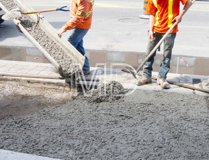 Zement Beton Strasse Baustelle Arbeiter Betonieren Boden