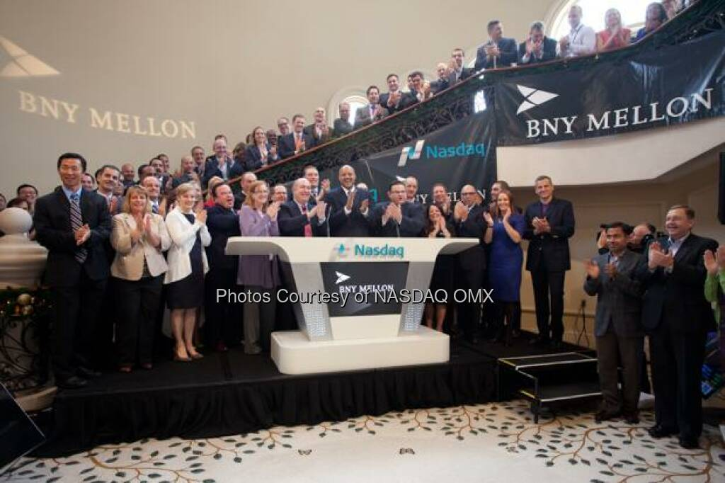 BNY Mellon ringing the Nasdaq #ClosingBell today at the #ETFSymposium2014 in Dana Point, California!  Source: http://facebook.com/NASDAQ (04.12.2014)