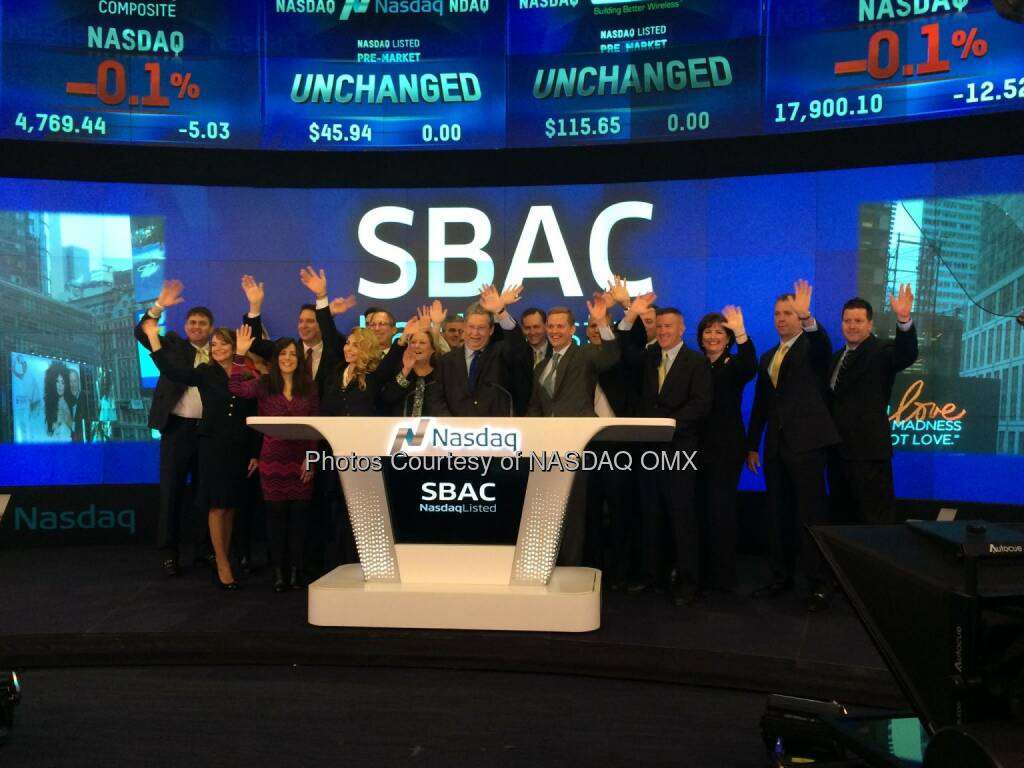 SBA Communications rings the #Nasdaq Opening Bell! $SBAC #N100 @NelsonGriggs #OpeningBell  Source: http://facebook.com/NASDAQ (06.12.2014)