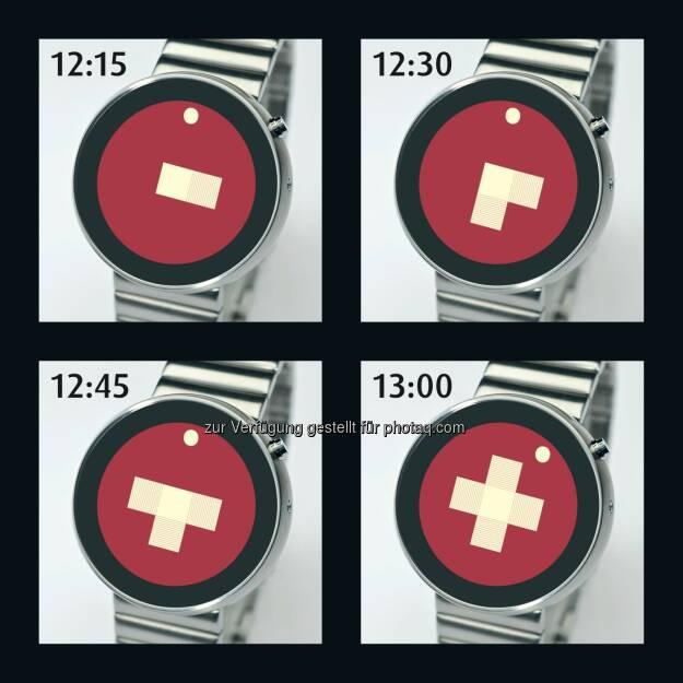 Der Designer Andreas Mossner aus Zürich hat mit der Swiss Partime eine neuartige Uhr entwickelt. Bei ihr ist die Zeit an einem wachsenden Schweizerkreuz ablesbar. Der Hingucker steht für eine moderne Schweiz mit einem traditionellen Touch im digitalen Zeitalter - Das Schweizerkreuz als Uhr (Bild: Partime Advision AG), © Aussender (11.12.2014)