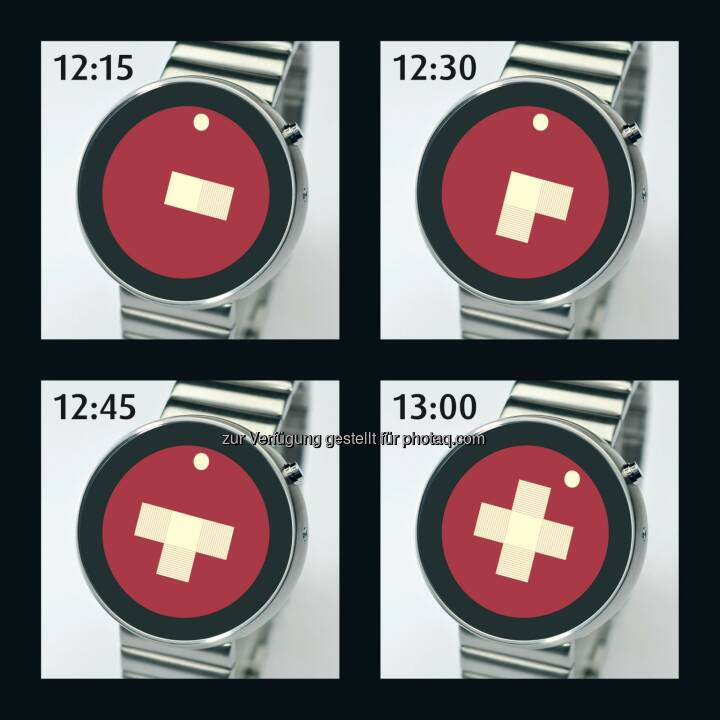 Der Designer Andreas Mossner aus Zürich hat mit der Swiss Partime eine neuartige Uhr entwickelt. Bei ihr ist die Zeit an einem wachsenden Schweizerkreuz ablesbar. Der Hingucker steht für eine moderne Schweiz mit einem traditionellen Touch im digitalen Zeitalter - Das Schweizerkreuz als Uhr (Bild: Partime Advision AG)