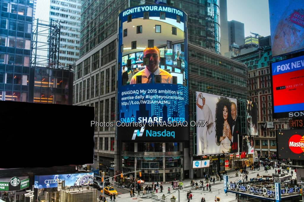 What's your 2015 ambition? Tell us & send a pic w/ #IgniteYourAmbition, your photo could light up the #Nasdaq Tower! http://spr.ly/6182vP5i  Source: http://facebook.com/NASDAQ (20.12.2014)