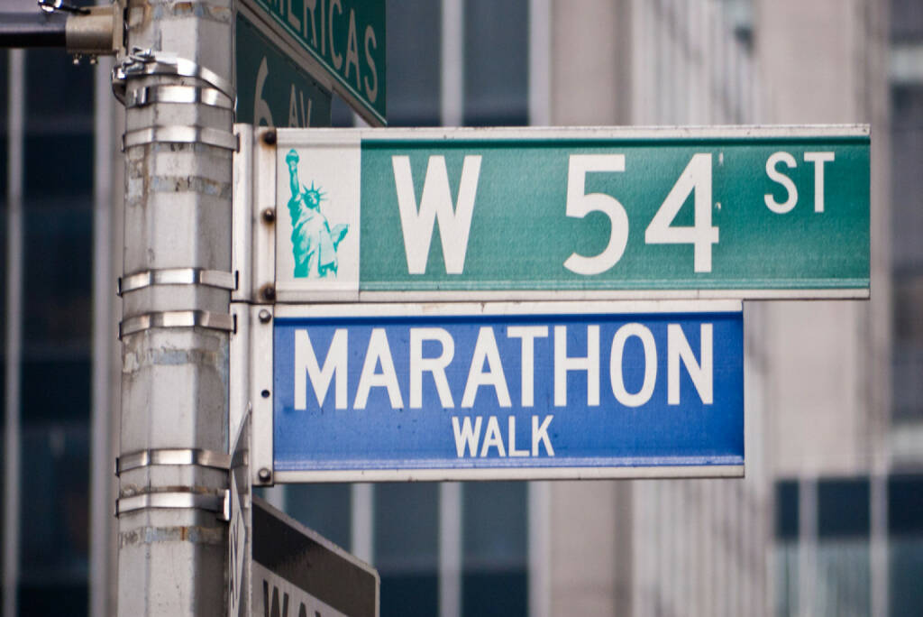 New York City, USA, Marathon, Marathon Walk, The Big 6, The Big Six, http://www.shutterstock.com/de/pic-105883196/stock-photo-marathon-walk-street-sign-in-new-york-city-located-at-the-corner-of-west-th-st-and-th-avenue.html, © www.shutterstock.com (25.12.2014)