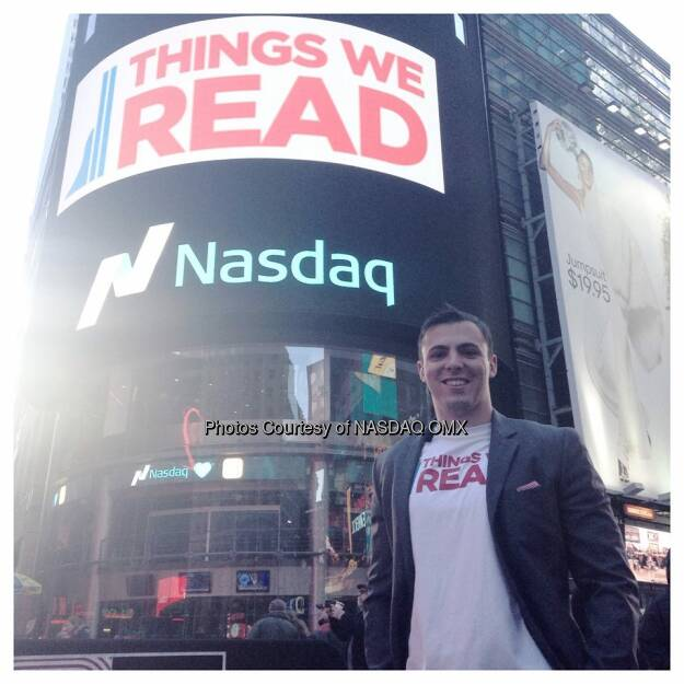 Great time at the #Nasdaq opening bell this morning with the @ThingsWeRead team and Co-Founder Chris Molaro!  Source: http://facebook.com/NASDAQ (29.12.2014)