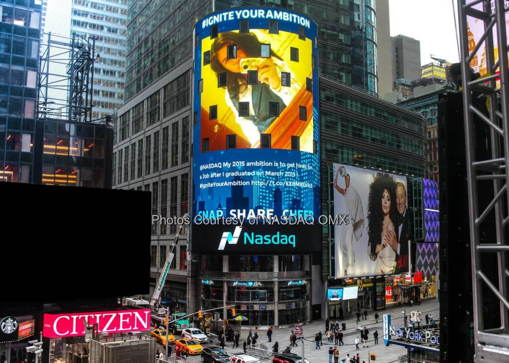 Cyril your 2015 ambition lit up the @Nasdaq Tower! #IgniteYourAmbition @oh_laaadyKi  Source: http://facebook.com/NASDAQ (31.12.2014)
