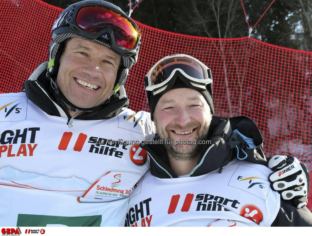 Armin Assinger und Kjetil Andre Aamodt. Foto: GEPA pictures/ Hans Simonlehner, © GEPA/Sporthilfe (10.02.2013)