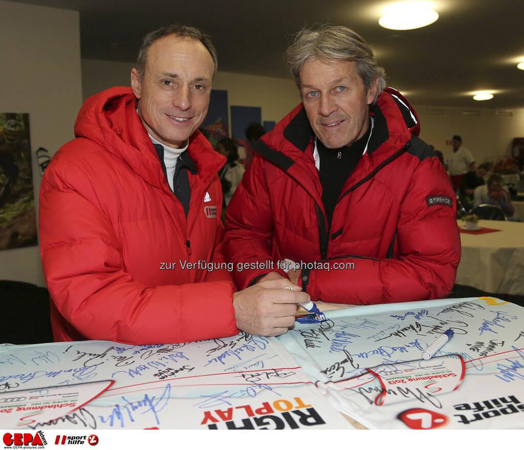 Anton Schutti (Sporthilfe) und Bernhard Russi. Foto: GEPA pictures/ Hans Simonlehner, © GEPA/Sporthilfe (10.02.2013)