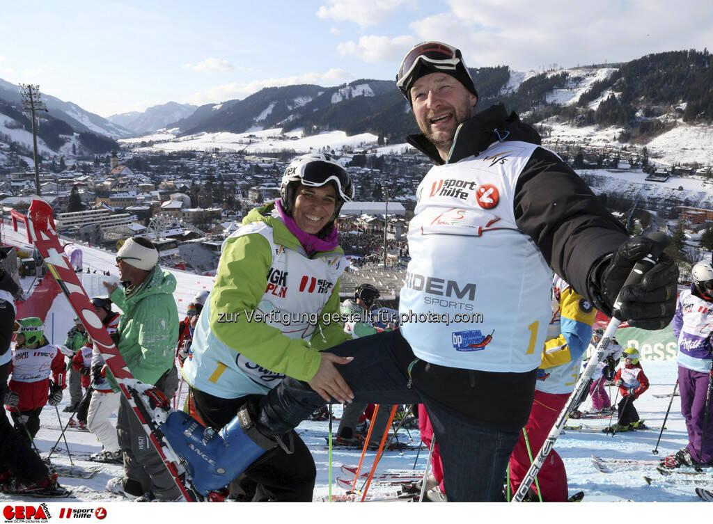 Michaela Dorfmeister und Kjetil Andre Aamodt. Foto: GEPA pictures/ Hans Simonlehner, © GEPA/Sporthilfe (10.02.2013)