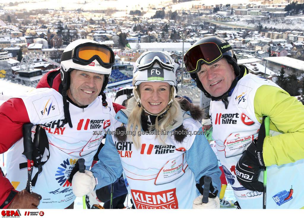 Bernhard Russi, Renate Goetschl und Franz Klammer. Foto: GEPA pictures/ Hans Simonlehner, © GEPA/Sporthilfe (10.02.2013)