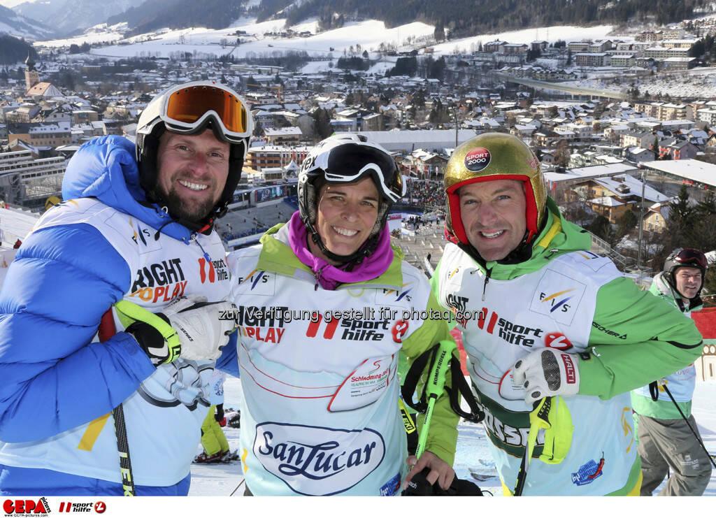 Marco Buechel, Michaela Dorfmeister und Hans Knauss. Foto: GEPA pictures/ Hans Simonlehner, © GEPA/Sporthilfe (10.02.2013)