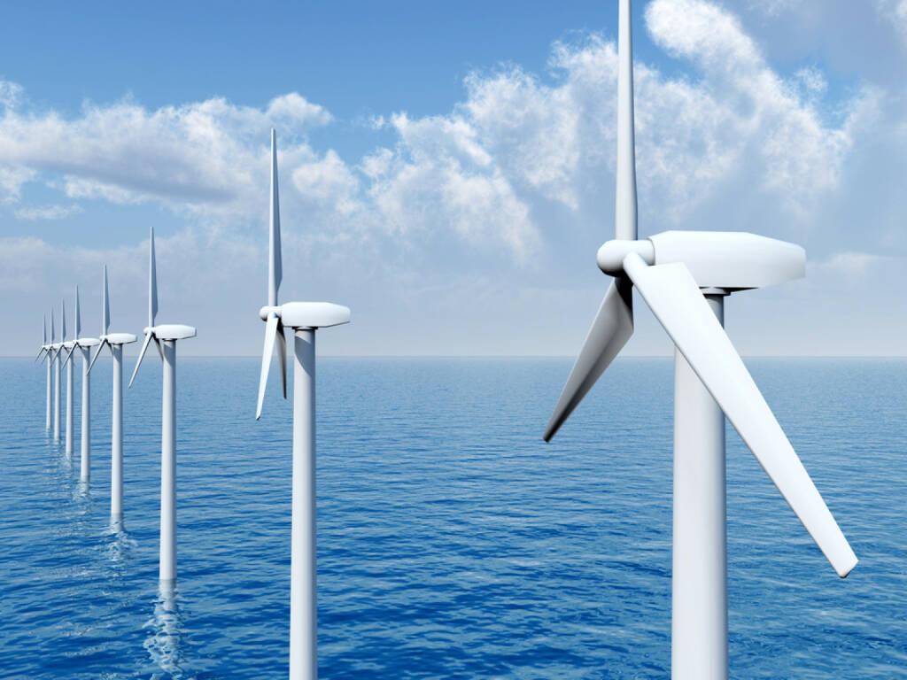 Innovation, Idee, neu, Erfindung, Erneuerung, Energie, Windenergie, Windrad, Wind, Windpark, Technik, http://www.shutterstock.com/de/pic-242245618/stock-photo-offshore-wind-farm-computer-generated-d-illustration.html, © www.shutterstock.com (12.01.2015)