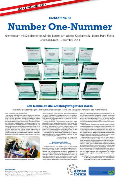 Fachheft Nr. 28 - Number One-Nummer: Gemeinsam mit Deloitte ehren wir die Besten am Wiener Kapitalmarkt. Basis: Hard Facts. (13.01.2015)