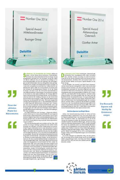 Special Award Mittelstandsinvestor: Rosinger Group ; Special Award Aktienanalyse Österreich: Günther Artner (13.01.2015)
