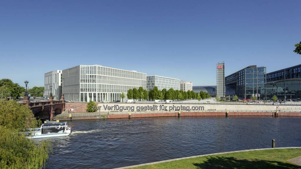 CA Immo vermietet rd. 4.000 m2 in Berlin - Kennedy Haus, Fotomontage mit Blick über die Spree (Bild: bünck+fehse visualisierung und animationsdesign gmbh) , © Aussendung (15.01.2015)