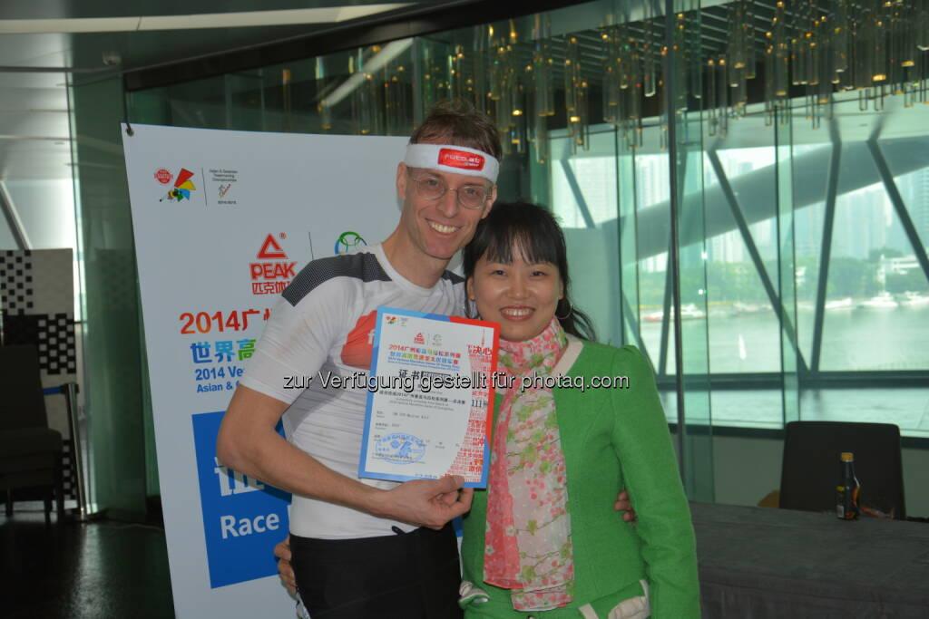 Rolf Majcen: Treppenlauf im 600 Meter hohen Canton Tower in Guangzhou. Es ist der zweitlängste Treppenlauf der Welt. Wir mussten 445 Höhenmeter zur Aussichtsterrasse hinauflaufen, 2560 Stufen. Nach 17,45 Minuten finishte ich als 15. und war sehr glücklich das mir selbst gesteckte Ziel - Top 15 - auch diesmal wieder erreicht haben zu können, © Aussendung (15.01.2015)