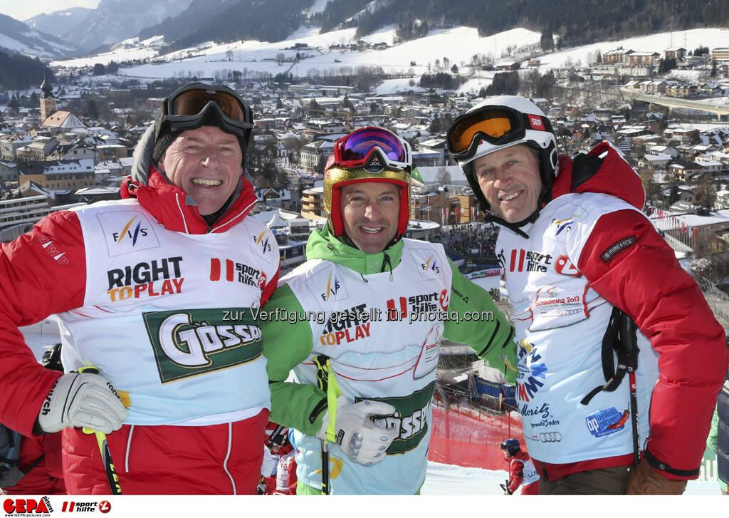 Harti Weirather, Hans Knauss und Bernhard Russi. Foto: GEPA pictures/ Hans Simonlehner, © GEPA/Sporthilfe (10.02.2013)
