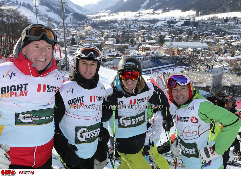 Harti Weirahter, Thomas Reisenberger, Michael Walchhofer und Hans Knauss. Foto: GEPA pictures/ Hans Simonlehner, © GEPA/Sporthilfe (10.02.2013)
