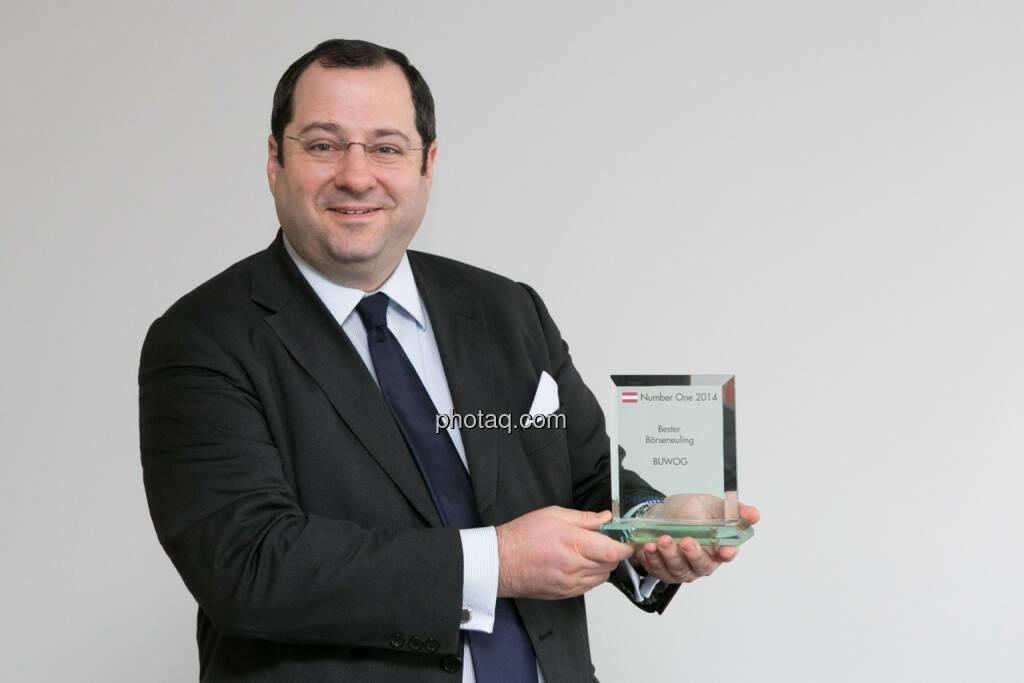 Daniel Riedl (CEO Buwog) als Börseneuling des Jahres 2014 von Deloitte und Börse Social Network ausgezeichnet. Bericht hier: http://www.christian-drastil.com/blog/2015/01/19/buwog_sieht_unseren_number_one_award_als_auftrag_fur_2015 , © photaq/Martina Draper (19.01.2015)