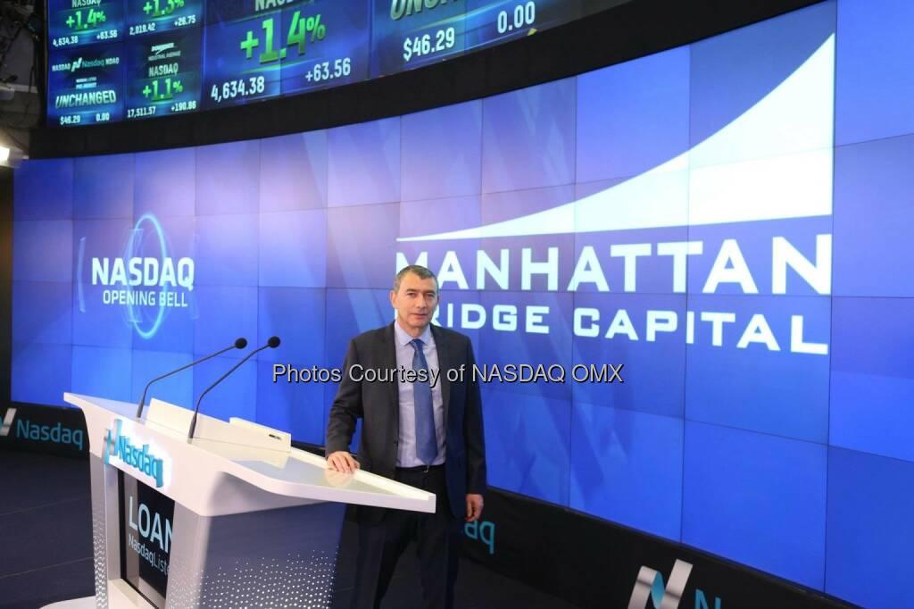 Manhattan Bridge Capital (Nasdaq: LOAN) rang the Nasdaq Opening Bell!  Source: http://facebook.com/NASDAQ (21.01.2015)