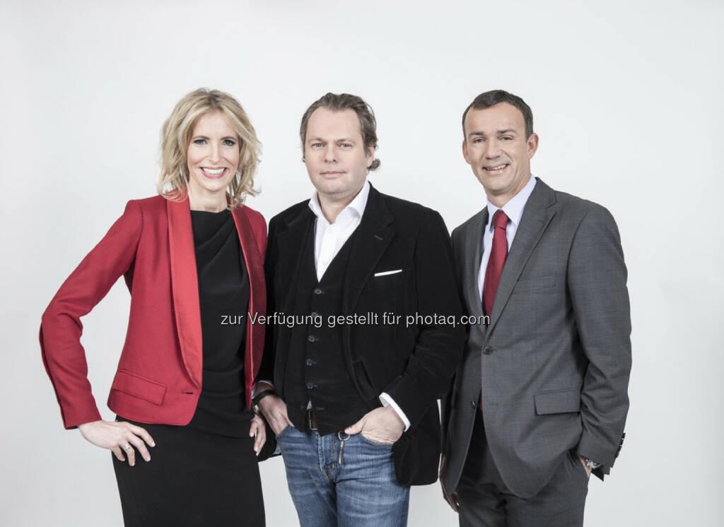 ATV-Geschäftsführer Martin Gastinger (mitte) holt sich Michael Weihs (rechts) als CFO ins Team. Ina Bauer (links) wird Director of Sales, Marketing & New Media., © Aussender (23.01.2015)