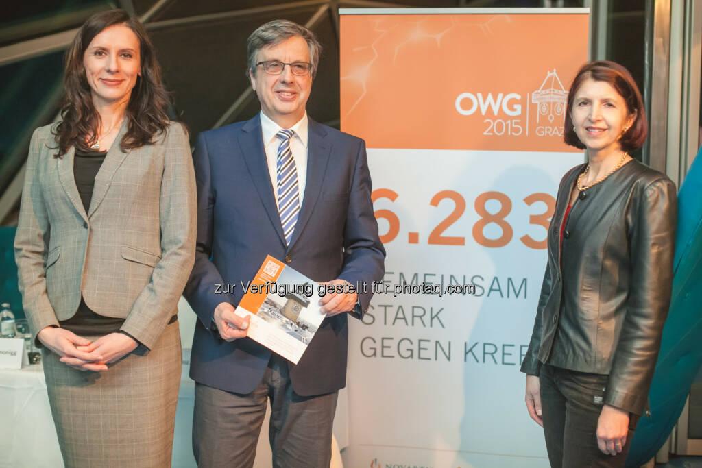 Sabine Moravi, Hellmut Samonigg, Erika Richtig - Novartis Austria GmbH: Gemeinsam stark gegen Krebs (Bild: Philipp Lipiarski), © Aussendung (23.01.2015)
