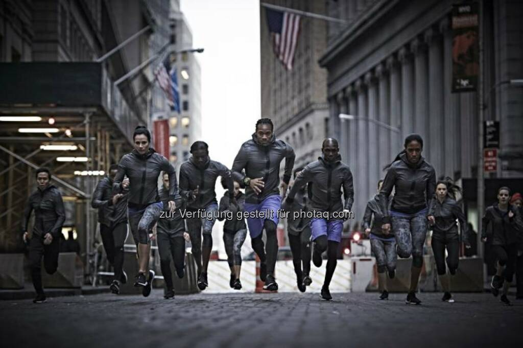 Yohan Blake, Wilson Kipsang, Tori Bowie, Ajee Wilson and Jenn Suhr, launch the new adidas Ultra Boost running shoe on Wall Street, New York City., © adidas (23.01.2015)