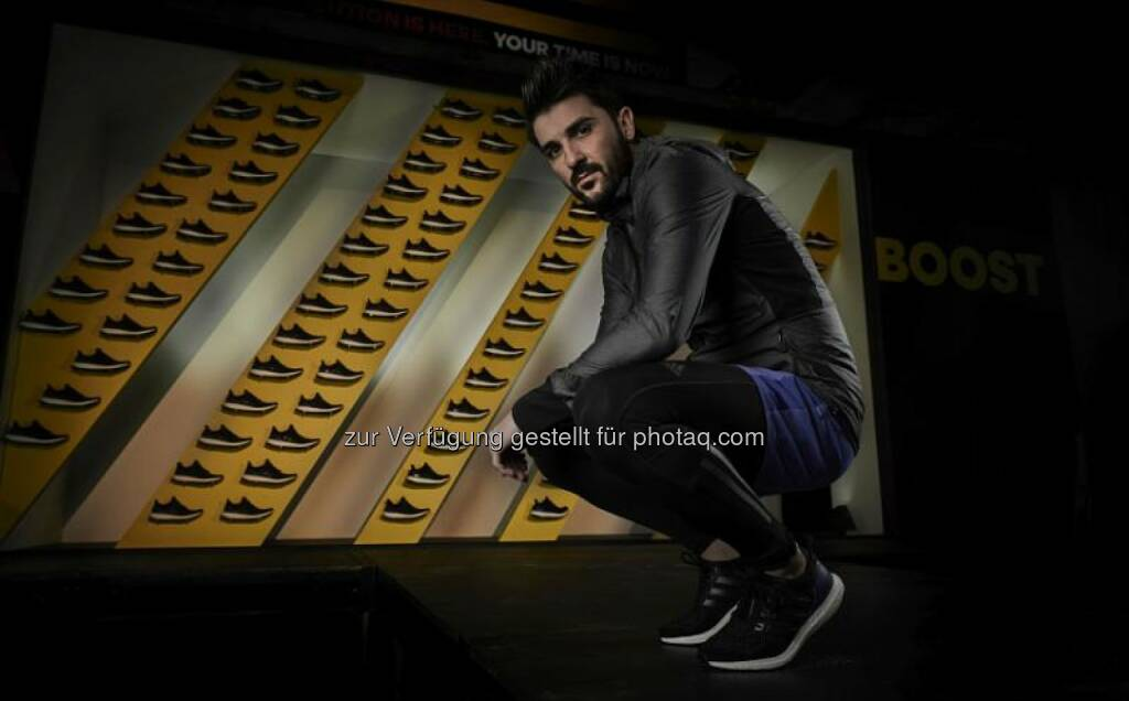David Villa pictured at the launch of the new adidas Ultra Boost running shoe in New York City, © adidas (23.01.2015)