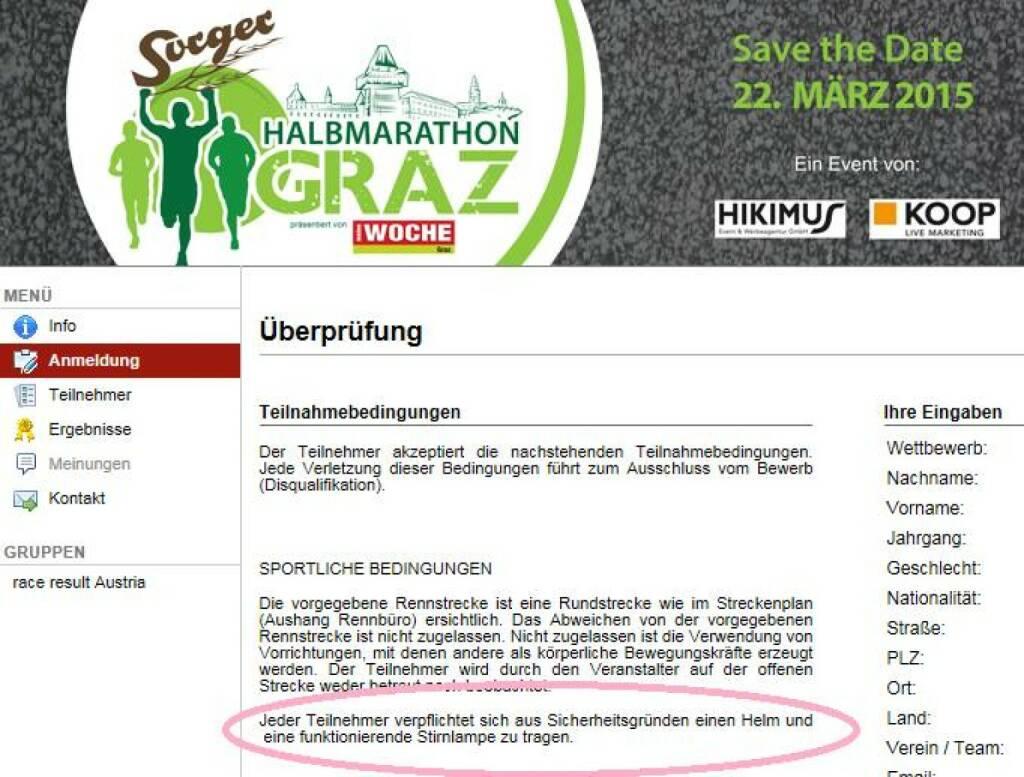 Helmpflicht beim Halbmarathon in Graz? (25.01.2015)