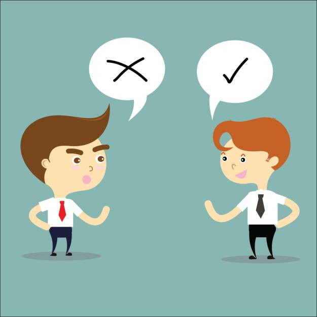 Gegenteil, richtig, falsch, Diskussion, Streit, Argument, Standpunkt, Gespräch, Meinung, http://www.shutterstock.com/de/pic-246655765/stock-vector-two-businessman-thinking-opposites-with-right-and-wrong-sign-vector.html, © www.shutterstock.com (25.01.2015)