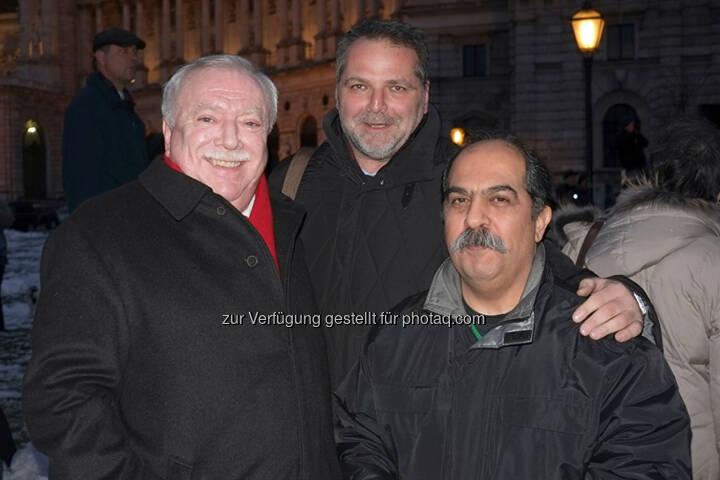 Bürgermeister Michael Häupl, Willi Merny (Mauthausenkomitee), Keivan Amiri (Taxistreik) - Taxistreik - 50000 Gründe: Protest im Taxi-Korso gegen Akademikerball (Bild: 50000Gründe)